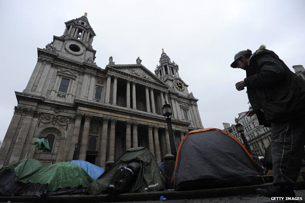 Occupy London camp outside St Paul's Cathedral, London 2012