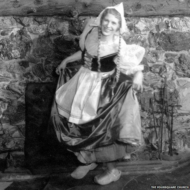 Aimee McPherson in a costume