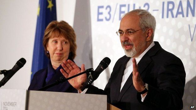 Former EU foreign policy chief Catherine Ashton and Iranian Foreign Minister Mohamad Javad Zarif in Vienna - 24 November 2014