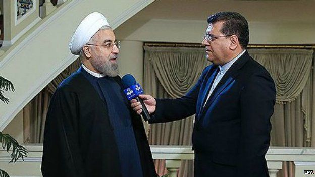Iranian President Hassan Rouhani is interviewed about the nuclear talks in Tehran - 24 November 2014
