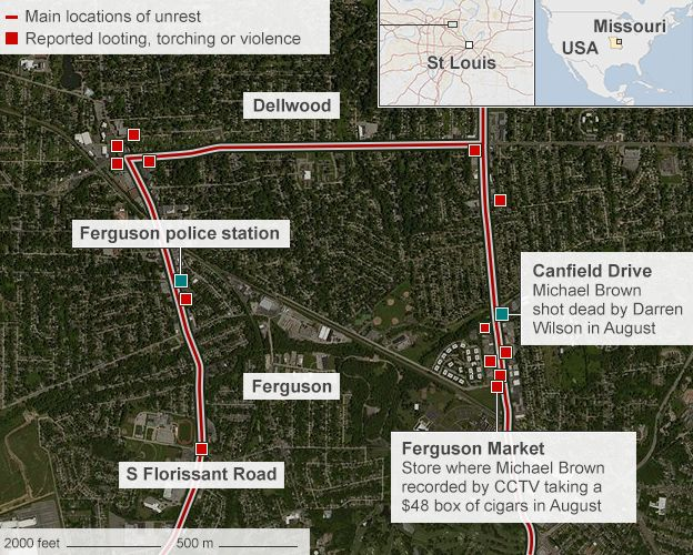 Ferguson Riots Ruling Sparks Night Of Violence BBC News - Map of us before and after the riots