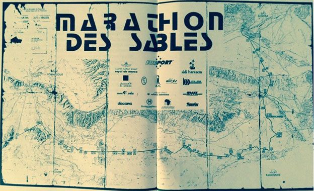 A map showing the 1994 Marathon des Sables route