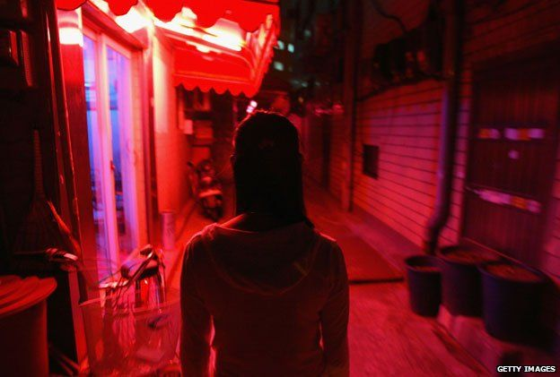 Prostitute in red light district in Seoul, South Korea