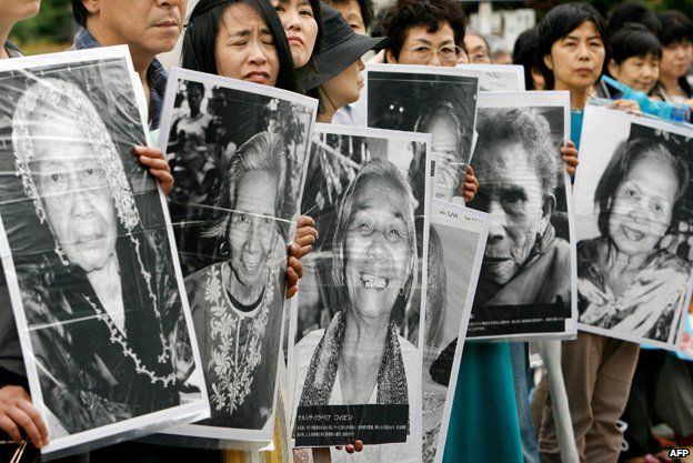 Japanese women hold portraits of Chinese, Philippine, South Korean and Taiwanese former comfort women in Tokyo, Japan in 2007