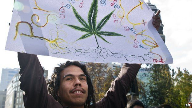 A man holds up a sign at a pro-cannabis legalisation rally in Chile