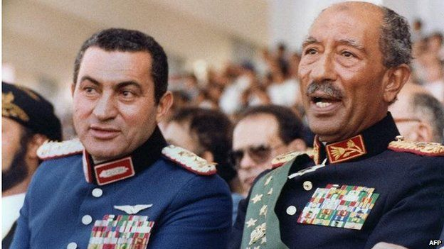 Mubarak and Sadat moments before the shooting on 6 October 1981, in Cairo