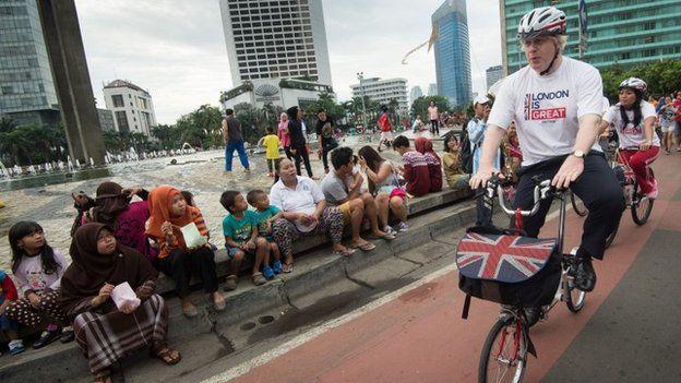 Boris rides through Jakarta
