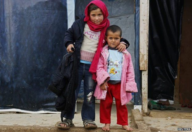 Young Syrian refugees at a camp in Zahle, eastern Lebanon (27 November 2014)