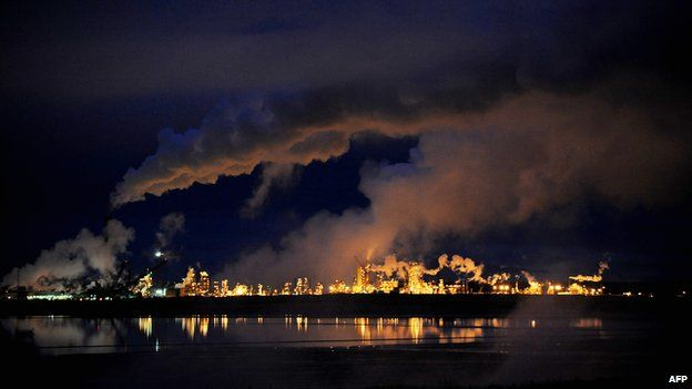 Syncrude oil sands extraction facility near Fort McMurray in Alberta