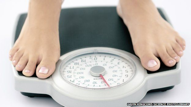 girl on weighing scales