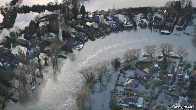 Flooded homes near Walton on Thames in February 2014