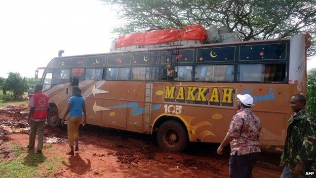 Aftermath of attack by al-Shabab on a bus in Kenya, 22 November 2014
