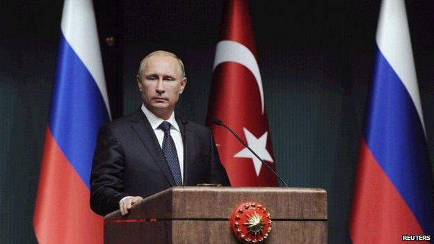 President Vladimir Putin during a news conference in Ankara