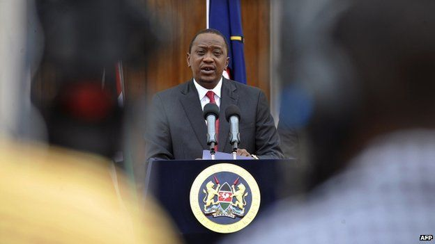 The Kenyan President Uhuru Kenyatta gives a speech after attacks by Al-Shabab militants