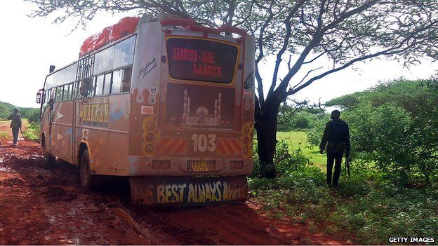 The bus that was attacked, northern Kenya