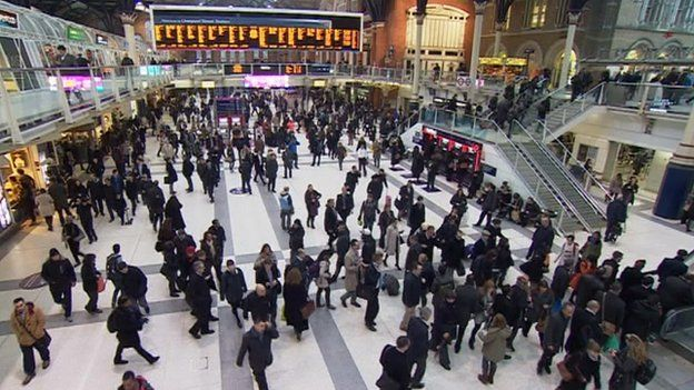 Commuters at London Liverpool Street