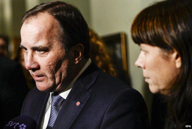 Swedish PM Stefan Lofven speaks to reporters in Stockholm (3 Dec)