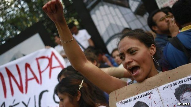 A demonstration to demand justice for the 43 missing students of Ayotzinapa Teacher Training College, in Mexico City, on 5 November 2014.