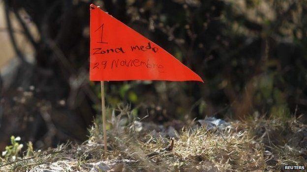 A marker is pictured in an area containing mass graves in La Joya, on the outskirts of Iguala, Guerrero state November 29, 2014