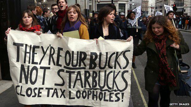 protestors in 2012 against Starbucks low tax bill in the UK