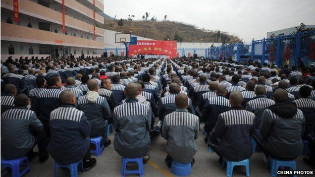 Inmates attend a ceremony to celebrate the upcoming Spring Festival at the Chuanxi Prison on January 24, 2009 in Chengdu of Sichuan Province, China.