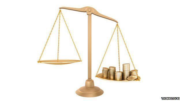 Money on scales