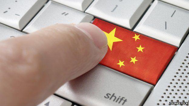 Male finger pressing China enter key