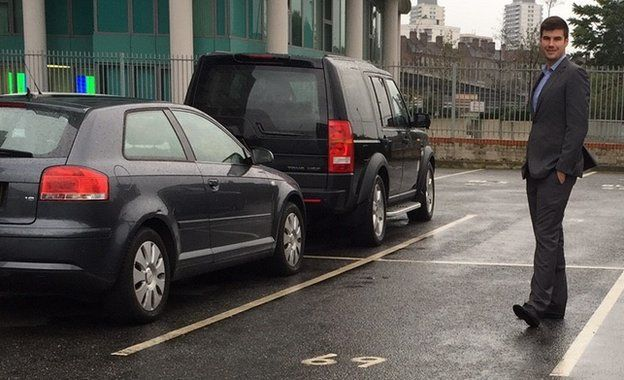 Peter Bartlett in his parking space
