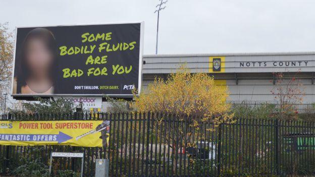 The billboard outside Notts County FC