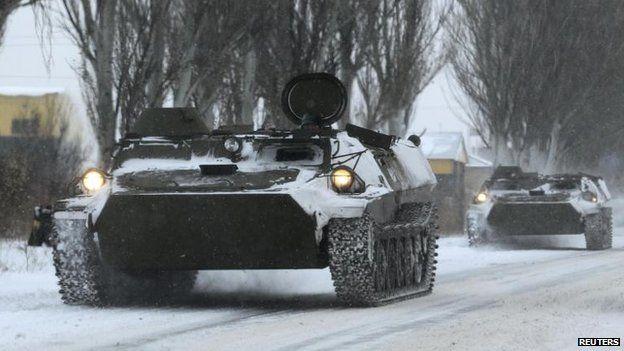 APC carrier on Donetsk-Luhansk road, 1 Dec