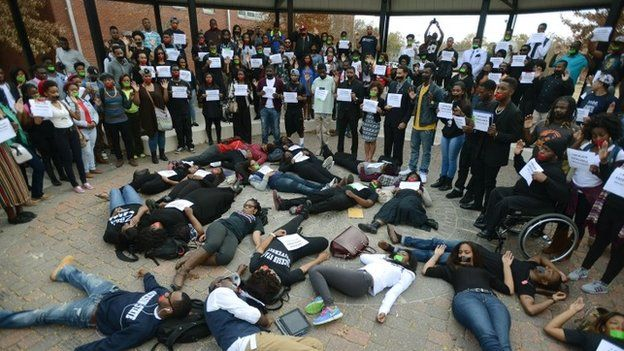 Students at Jackson State University participate in the national Hands Up Walkout on Monday, Dec. 1, 2014,