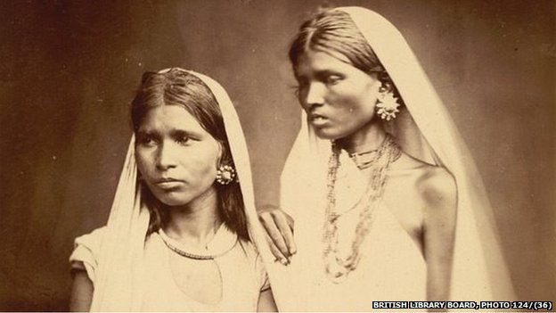 Portrait of two Bengali women taken by an unknown photographer in the early 1860s. In the 19th century the British Government sought to acquire information about the diverse races, customs, costumes and occupations of the sub-continent.