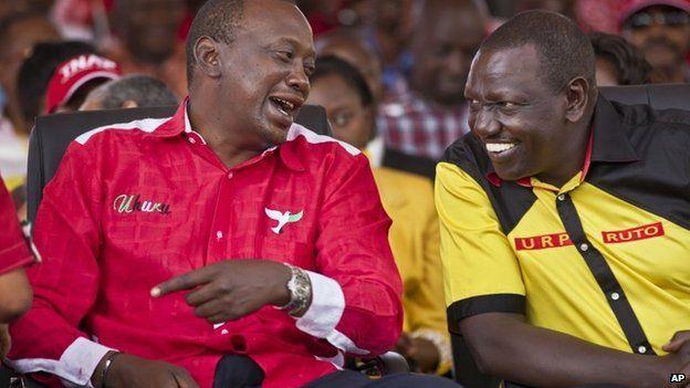 Uhuru Kenyatta (l) and William Ruto (r)