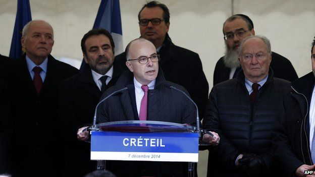 French Interior Minister Bernard Cazeneuve on December 7, 2014 addresses a rally against anti-Semitism in the Paris suburb of Creteil, where a couple was attacked on December 1 apparently because the man was Jewish.
