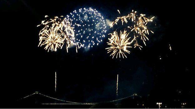 Fireworks at the Clifton Suspension Bridge