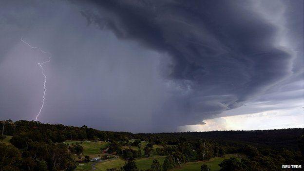 Lightning in a large storm over the Sydney suburb of Wakehurst. 5 Dec 2014