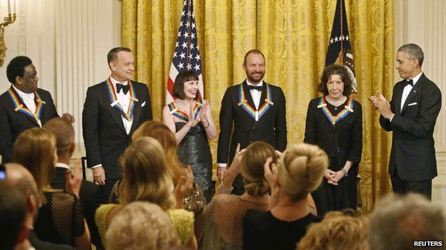 Al Green, Tom Hanks, Patricia McBride, Sting and Lily Tomlin with President Obama