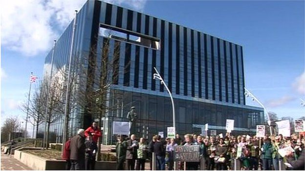 Protesters outside Corby Cube