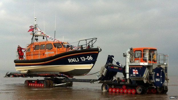 RNLI Shannon lifeboat and launch vehicle