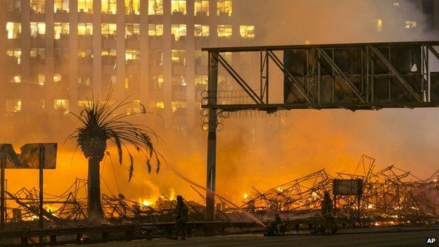 A huge blaze in downtown Los Angeles