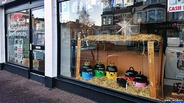 Nativity scene made of Henry vacuum cleaners
