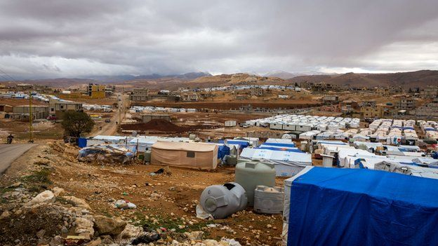 The Al-Nihaya Syrian refugee camp in the eastern Lebanese town of Arsal