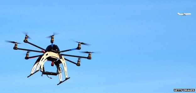 Drone hovering at meeting of drone users in the DC area of Washington