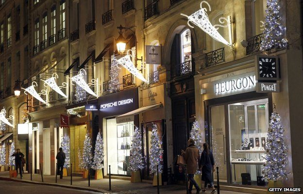 Christmas lights at the Faubourg Saint-Honore (file pic Nov 2014)
