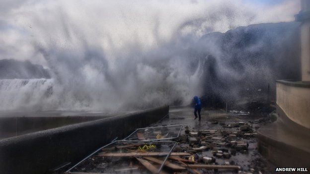 The strong winds have cause damage along Portstewart promenade