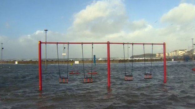 Flooded play park in Portstewart