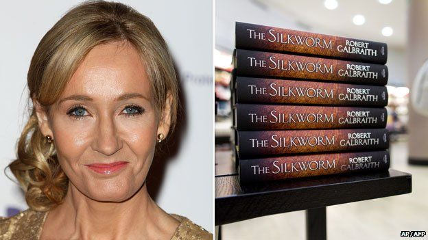 JK Rowling and copies of The Silkworm