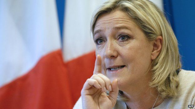 France's far-right National Front (FN) leader Marine Le Pen speaks during the launch of the new FN youth movement (FNJ) campaign in Nanterre on 8 December 2014.