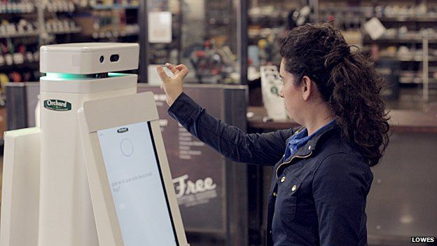 The robot can scan a screw and match it to the correct size and type in store