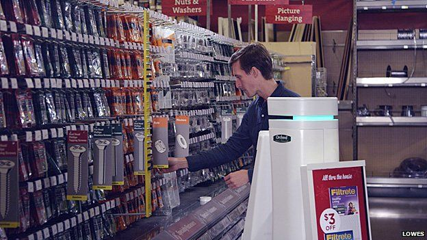 OSHbot with a customer